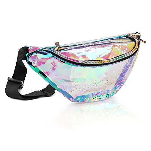 accmor Holographic Fanny Pack, Waterproof Shiny Fanny Bag for Women, Fashion Waist Bag with Adjustable Belt for Rave Festival Hologram Bum Travel Waist Pack