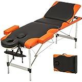 Uenjoy Folding Massage Table 84'' Professional Massage Bed Aluminum Frame, 3 Fold Black Bed with Orange Edge