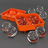 Woogor Whiskey Rounders Ice Ball Maker Makes 4 Large Ice Spheres At Once, Odorless BPA Free FDA Grade Silicone, Innovative Design Makes Ice Ball Removal Easy , Ice Cube Tray Ball Maker for Bar Accessories Juice Whiskey Cocktail Drinks, Ice Ball Makers for Fridge , Ice Trays Made of Silicone Material.