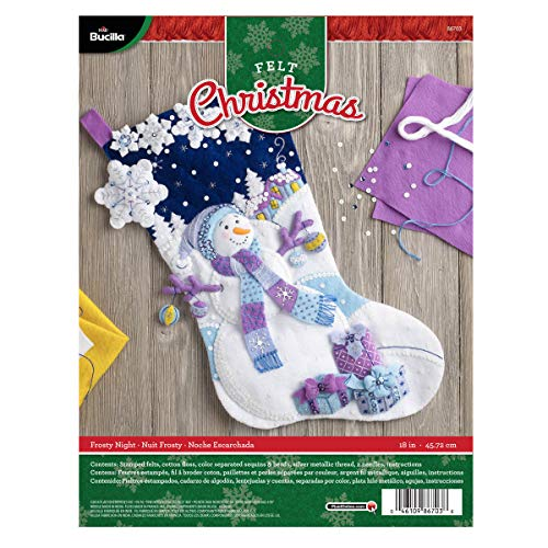 Bucilla Felt Applique Stocking Kit (18-Inch), 86703 Frosty Night from Bucilla