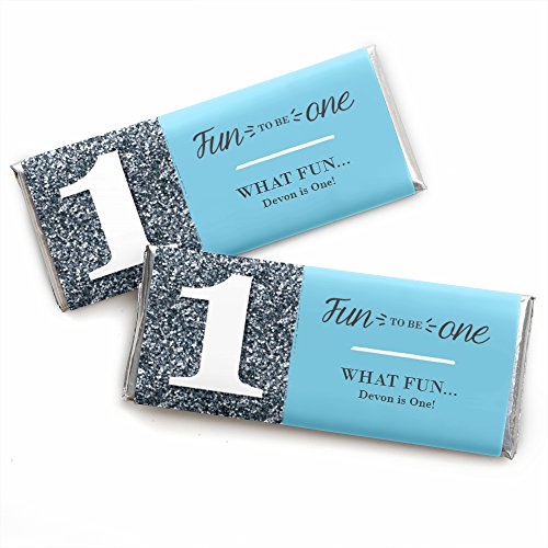 Custom Fun to be One - 1st Birthday Boy - Personalized First Birthday Party Favors Candy Bar Wrappers - Set of 24