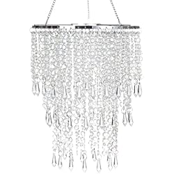 Faux Crystal Ceiling Chandelier with Sparkling Iridescent Beaded Chandeliers 8.6 inches Diameter for Wedding Centerpiece Living Room Bedroom Event Party