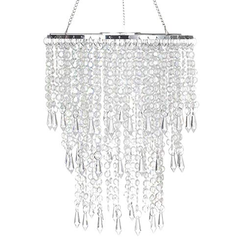SUNLIHOUSE 3 Tier Beads Pendant Shade, Ceiling Chandelier Lampshade with Acrylic Jewel Droplets, Beaded Lampshade with Chrome Frame and Sparkling Beads, Diameter 8.7 inches,Bulb is NOT Included
