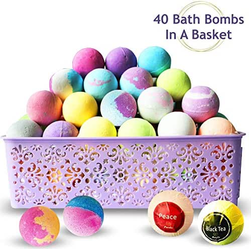Bath Bombs Gift Baskets for Women! Basket of 40 Moisturizing Spa Fizzers Lush Bombs, 40 Unique Bath Bombs Set. Luxury Spa Basket to store in. Gift Idea for Wife, Mom, Girl Friend, Party Favors