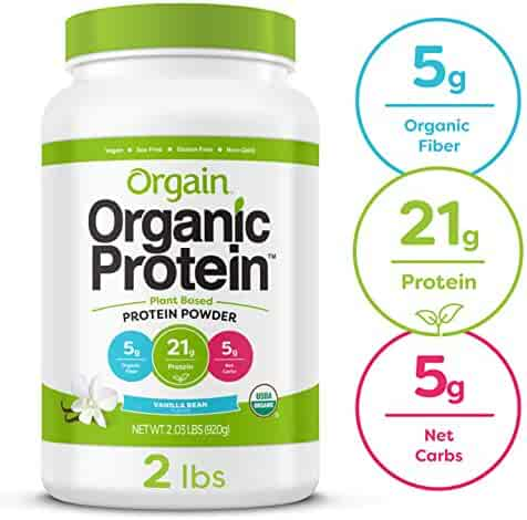 Orgain Organic Plant Based Protein Powder, Vanilla Bean - Vegan, Low Net Carbs, Non Dairy, Gluten Free, Lactose Free, No Sugar Added, Soy Free, Kosher, Non-GMO, 2.03 Pound