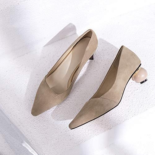 Yukun zapatos de tacón alto Acentuado Grueso con Zapatos Individuales Wild con Tacones Negro Superficial Boca Zapatos De Mujer Apricot
