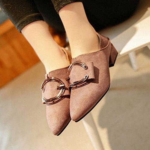 Giy Femmes Pompes Classiques Mocassins Boucle Daim Bout Pointu Confort Slip-on Bloc Robe Talon Chaussures Mocassins Kaki