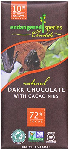Endangered Species, Dark Chocolate Bar with Cacao Nibs, 3 -