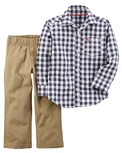 Shirt Khaki Pants (Carters Toddler Boys Gingham Button Down Pants Set (5T, Blue/khaki))