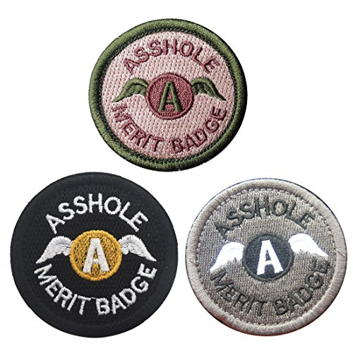 Homiego Bundle 3 Pieces Set Asshole Merit Badge Morale Patches - Military Tactical Morale Funny Patch