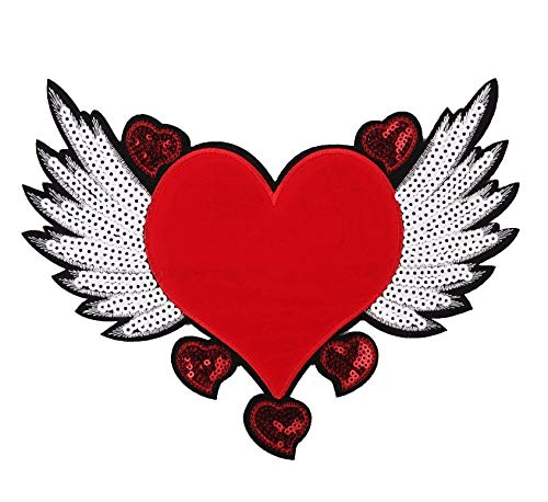 1Pcs New Heart Wing Embroidered Embroidery Needlework Sewing Lace Applique Sewing Embroidery Paillette Sewing Fabric Cloth Sweater Clothes Patch Patchwork Sequined Stickers T-Shirt Handmade DIY Craft