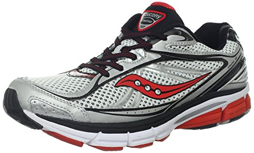 Saucony Mens Omni 12 Running Shoe, White/Black/Red, 40.5 D(M) EU/6.5 D(M) UK