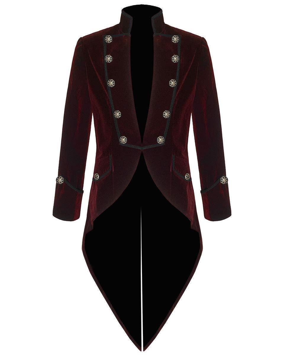 Darkrock Mens Steampunk Tailcoat Jacket Velvet Gothic VTG Victorian/Tail Coat (4XL, Burgundy) by Darkrock