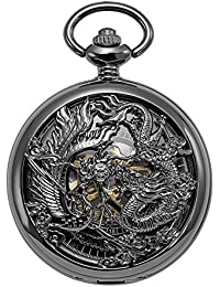 Mechanical Skeleton Pocket Watch Lucky Phoenix & Dragon Hollow Case with Chain + Gift Box