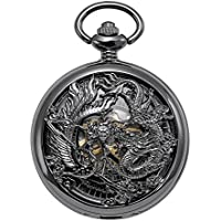 TREEWETO Mechanical Skeleton Pocket Watch Lucky Phoenix & Dragon Hollow Case with Chain + Gift Box