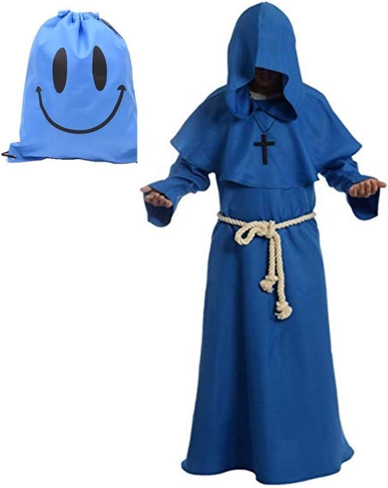 Much Green Monje Sacerdote Túnica de Robe para Medieval Renacimiento Trajes de Vampiros,Disfraz de Gótico cosplay con Cruz para Halloween Carnaval Disfraces con Capucha para Hombre(Azul,XXL)