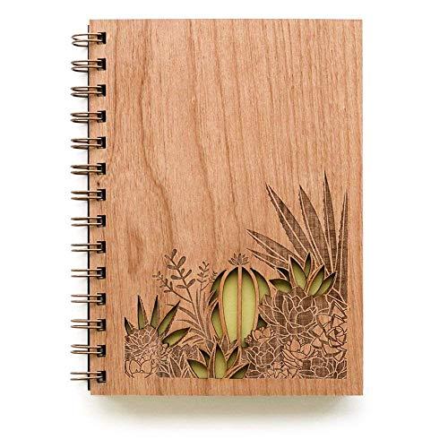 Desert Garden Laser Cut Wood Journal (Notebook/Birthday Gift/Gratitude Journal/Handmade/Christmas Gift)
