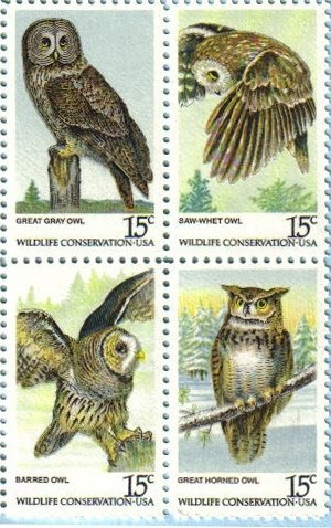 AMERICAN OWLS ~ BIRDS OF PREY ~ GREAT GREY OWL, SAW-WHET OWL, BARRED OWL, GREAT HORNED OWL #1763a Block of 4 x 15¢ US Postage ()