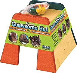 Ware Manufacturing Gnawsome Wood Pet Hut with Chew Toy for Small Pets, Medium