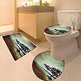 Printsonne 3 Piece Toilet mat Set Scene Accessories College List One a Kind Machine Washable Silky Satin in 3 Piece Shower Mat Set