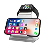 XUNMEJ Watch Stand for Apple Watch Charging Dock Stand Bracket Station Holder for Apple Watch Series 3/Series 2/ Series 1 (42mm 38mm) iPhone X 8 8plus 7 7plus 6S 6plus (Sliver)
