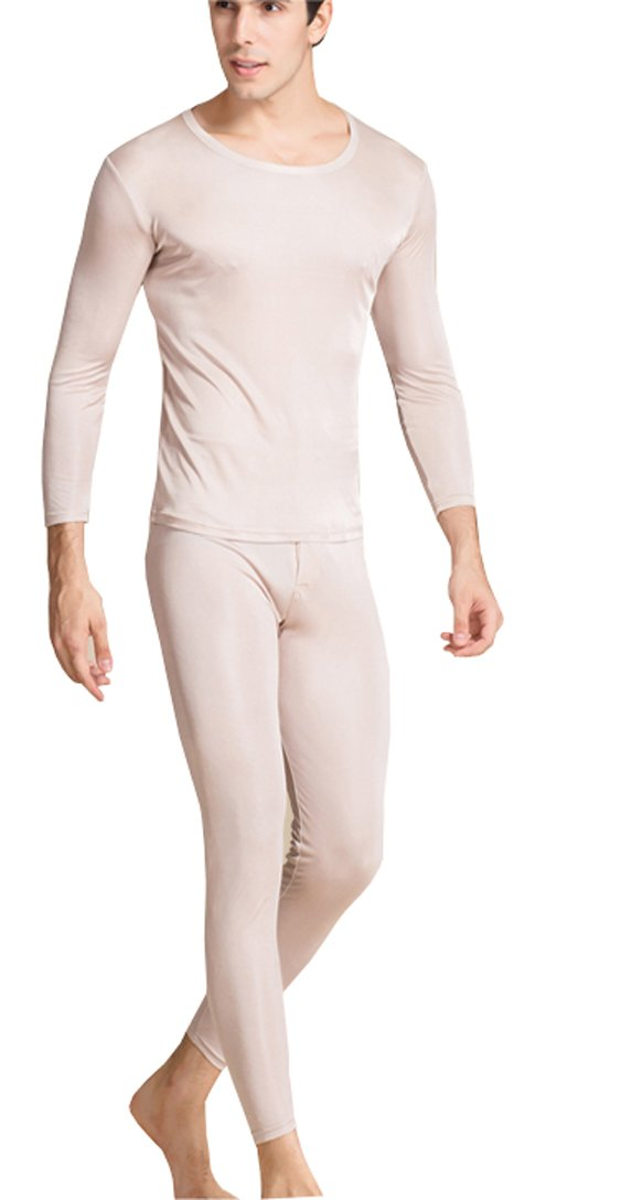 METWAY Silk Long Underwear Men's Silk Long Johns|2pc Thermal Underwear Set Small Beige by METWAY