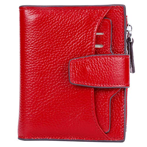 AINIMOER Women's RFID Blocking Leather Small Compact Bi-fold Zipper Pocket Wallet Card Case Purse (Lichee Red)