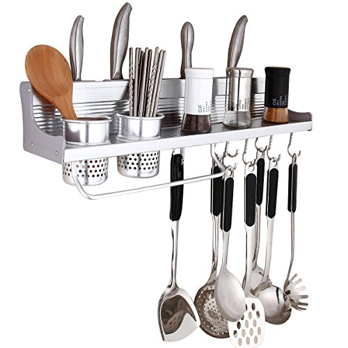 Wall Pot Rack,Haoweiming Wall Hanging Shelf 23 inch Kitchen Cookware Organizer with 10 Pot Hook & 4 Knife Holder & 2 Utensil Cup & Spice Rack & Towel Rack for RV/ Hotel /Restaurant /Bar (Cup Kitchen Towel)