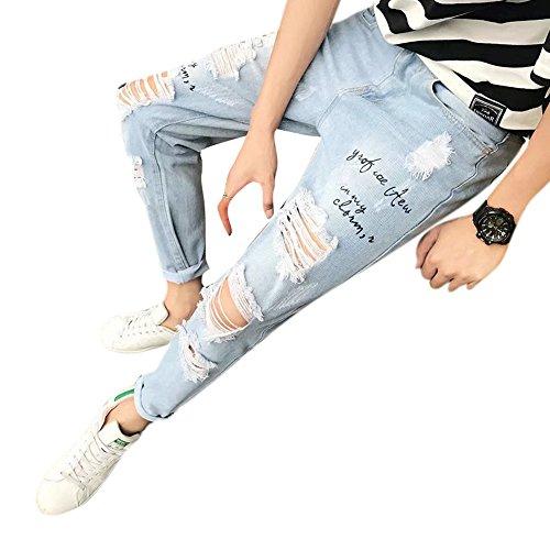 5bd87db7741 Men's Raw Edge Distressed Skinny Slim Fit Jeans Ripped Denim Pants Blue 30