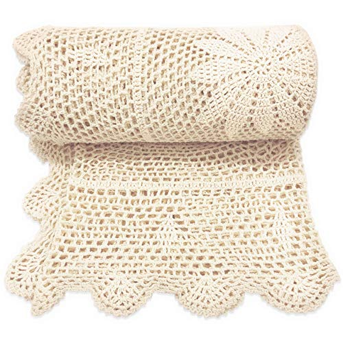 Zenviro The Boho Throw 100% Cotton Hand Knitted Lightweight Crochet Macrame Throw Blanket  Couch Chair Sofa Bed 50x60 inch Cream