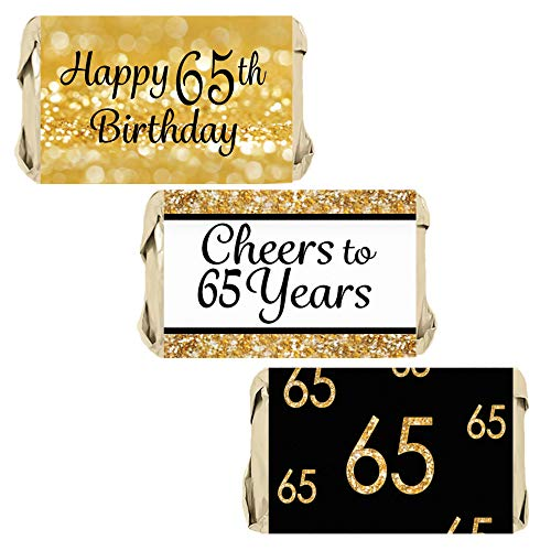 DISTINCTIVS Black and Gold 65th Birthday Party Miniatures Candy Bar Wrapper Stickers | 45 Count