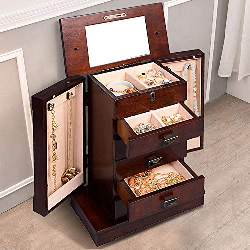 Adumly Armoire Jewelry Cabinet Box Storage Chest Stand Organizer Wood by Adumly (Image #7)