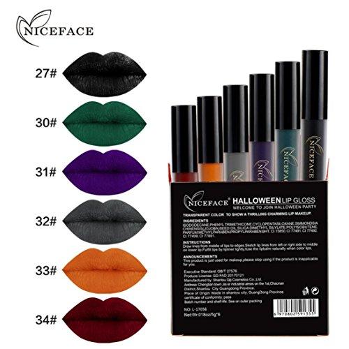 Hunzed Women 6Pcs Halloween Style Lip Lingerie Liquid Lipstick Matte Lip Gloss Waterproof Lipstick Cosmetic Makeup Set (A)