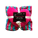 2pc Blue and Pink Stripes with Hearts Throw Blanket with Shaped Pillow Set