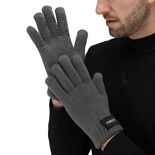 LETHMIK Mens Non-Slip Winter Gloves,Touchscreen Thick Knit Texting Gloves with Warm Wool Lining Grey