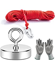 Neosmuk Fishing Magnet with 66 Feet Paracord, 500LBS 2.5 Inches Neo-Magnet with Lifting Eye-Bolt Ideal for Retrieving Items in Lake,Beach,Lawn and New House(Silvery White, Pack of 1)
