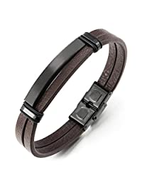New Two-Row Brown Leather Wristband Bangle Bracelet for Men Women with Stainless Steel Black Charms(CA)