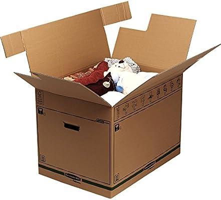 BANKERS BOX SmoothMove Cajas de transporte y mudanza súper resistentes, doble espesor, con asas, no necesita cinta de embalar, montaje automático FastFold, 127 litros, 45.5 x 60.5 x 45.5 cm, pack de