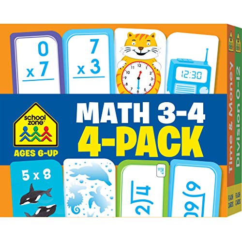 Multiplication Facts Flash Cards - School Zone - Math Grades 3-4 Flash Cards 4-Pack -  Ages 6 and Up, Multiplication, Division, Time and Money, and More (Flash Card 4-pk)