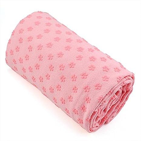 SODIAL(R) Toalla Hot Yoga Mat antideslizante Manta Con Los Puntos de placas de silicona y malla Carry Bag (rosa)