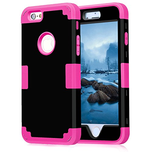 iPhone 6 Case 4.7, iPhone 6 Cases Hard Cover Shell TPU Rubber 2 Piece Ultra Slim Thin Bumper Covers Apple iPhone 6S Case Durable Protective Design Hybrid Defender Heavy Duty Shockproof (Black Rose)
