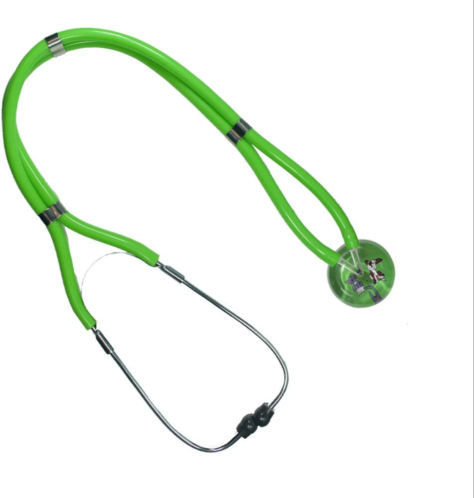 Classic Adult Stethoscope – 109 Kitty Doggy, Light Green LightGreen Tubing