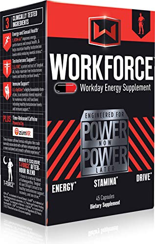 Mdrive Workforce – All Day Sustained Energy and Endurance Booster, Extended Release Caffeine Pills, KSM-66 Ashwagandha, LJ100, ZumXr – No Crash or Jitters Energy, Stress Relief, 45 Capsules