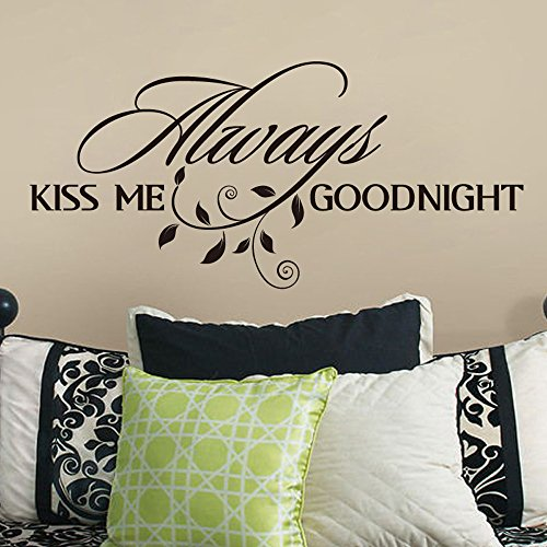 MairGwall Lettering Mural Always Kiss Me Goodnight Romantic Quote Decal for Bedroom,Headboard(White, 21