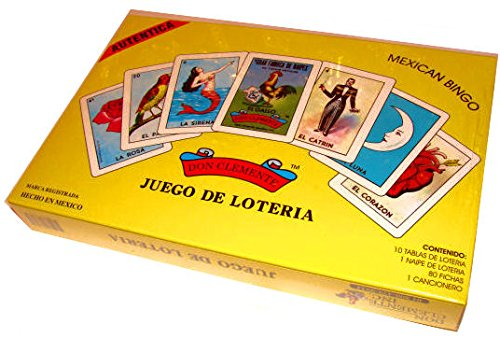 (Don Clemente Authentic Original Boxed Mexican Bingo Loteria Game, 10 Boards,)