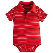 Under Armour Baby-Boys Newborn Yarn Dye Polo Bodysuit, Risk Red, 0-3 Months