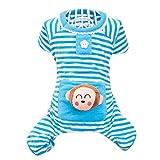 Chinatera Small Dog Cartoon Monkey Bear Striped Pajamas Coat Cat Puppy Cozy Clothes Apparel Clothing (M, Blue)