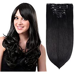 "15"" Clip in Hair Extensions Real Human Hair Off Black(#1B) 7pieces 120grams/4.23oz"