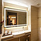 Hans&Alice Vertical or Horizontal LED Lighted Vanity Bathroom Silvered Mirror with Touch Button, Make up Mirror Wall Bar Mirror, 35.5'' x 27.6""