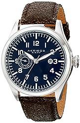 Akribos XXIV Men's AK785BU Swiss Quartz Movement Watch with Blue Dial and Brown Leather Strap